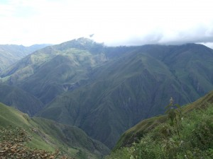 Just one of many giant, cloud-covered Colombian mountains