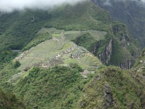A mostly fogless view of Machu Picchu from the top of Mount Waynapicchu