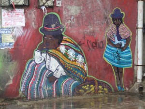 Cool graffiti people in native dress near central La Paz