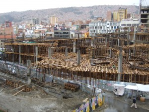 "The new central market, being constructed using the ""How much wood can we use to build a concrete building"" method"